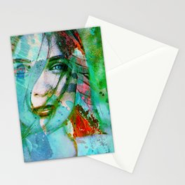 girl abstract Stationery Cards