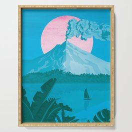 Costa Rica, Volcano Arenal Vintage Travel Poster Serving Tray