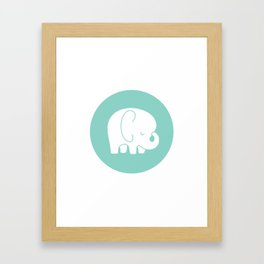 Mod Baby Elephant Teal Framed Art Print