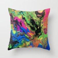 hydra Throw Pillows featuring Hydra Goo by SpaghettiLegz