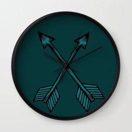 Crossed Arrows in Teal Wall Clock
