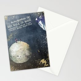 Men walk on Moon Astronauts Stationery Cards