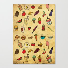 Food Love Pattern Canvas Print