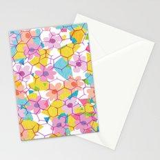 Digital spring flowers behind grid Stationery Cards