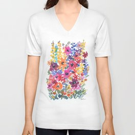 Bright Summer Garden Unisex V-Neck