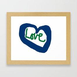 Love Heart Blue Heart Framed Art Print