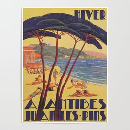 Antibes France Beach Vintage Travel Poster Poster