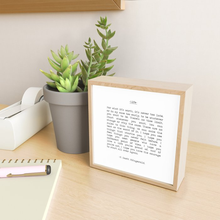 Life quote F. Scott Fitzgerald Framed Mini Art Print