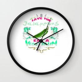 Save Jalepenos Eat Vegetarian Zombie Wall Clock