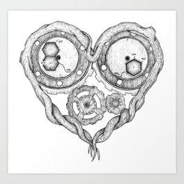 Chemistry of love: dopamine and serotonin formula (black and white version) Art Print