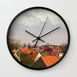 Roofs of the small town Wall Clock