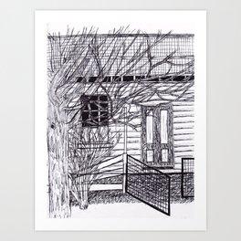 Old House Fineliner Sketch Art Print