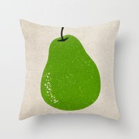 pear Throw Pillows featuring Pear by Roland Lefox
