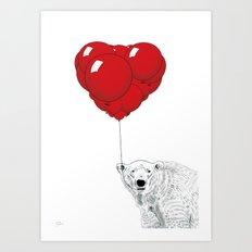 Smitten Bear Art Print