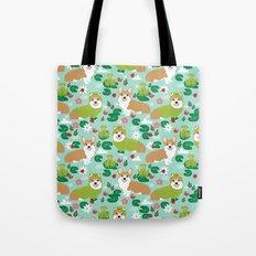 Corgi Spring - frogs and ladybugs Tote Bag