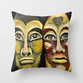 Tribal design portrait Throw Pillow