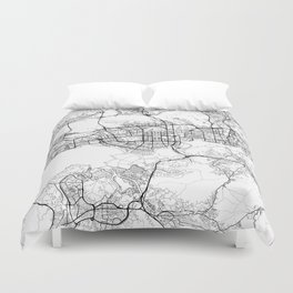 Shenzhen Map White Duvet Cover