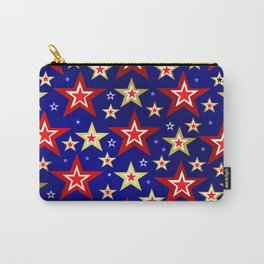 christmas pattern red star, gold stars,blue shiny background Carry-All Pouch