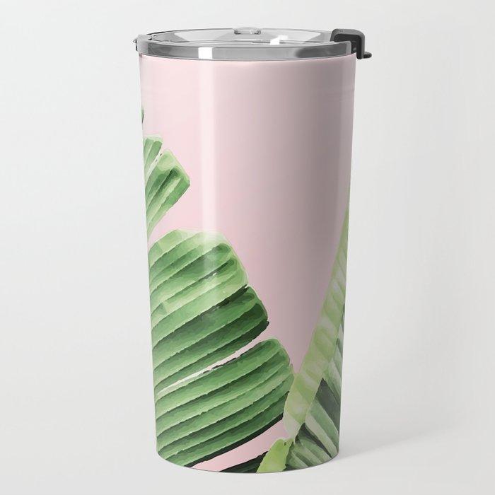 Banana Leaf on pink Travel Mug