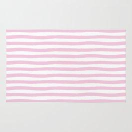 Pink Hand Drawn Horizontal Stripes Rug
