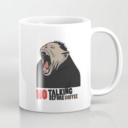 NO Talking before Coffee - Monkey yawn T-shirt and mug design Coffee Mug