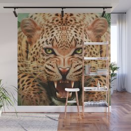 Mid Century Leopard in Tropical Forest Wall Mural