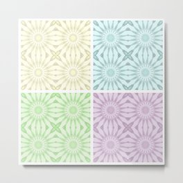Pastel Pinwheel Flowers Panel Art Metal Print