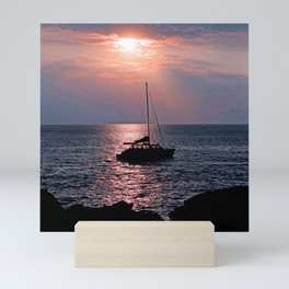 Tropical Sailboat In Pink Coral and Azure Sunset Mini Art Print