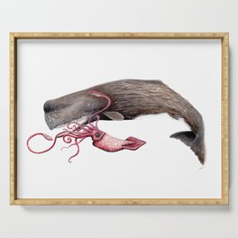 Epic battle between the sperm whale and the giant squid Serving Tray