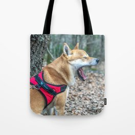 Shiba Inu yelling in the woods Tote Bag