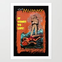 Woman in the red dress meets The Mummy Art Print