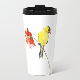 American Goldfinch and Red Flower Travel Mug