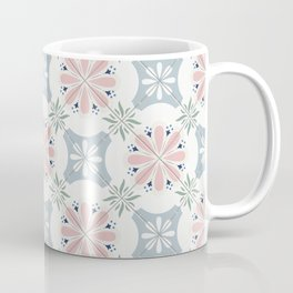 Pink & Blue Floral Tiles Coffee Mug