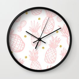 Pink Pineapple Wall Clock