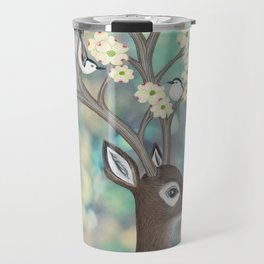white tailed deer, white breasted nuthatches, & dogwood blossoms Travel Mug
