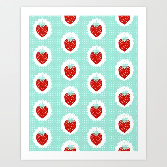 Strawberry fruit tropical mint nature food fresh pattern design geometric berries children farming  Art Print