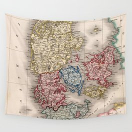 Vintage Map of Denmark (1838) Wall Tapestry