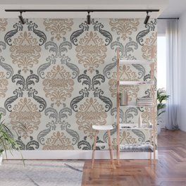 Floral Damask Pattern – Neutral Brown and Gray Earth Tones Wall Mural
