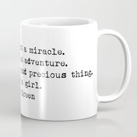 "john green Mugs featuring ""Margo was not a miracle..."" -John Green by Typed Book Quotes"