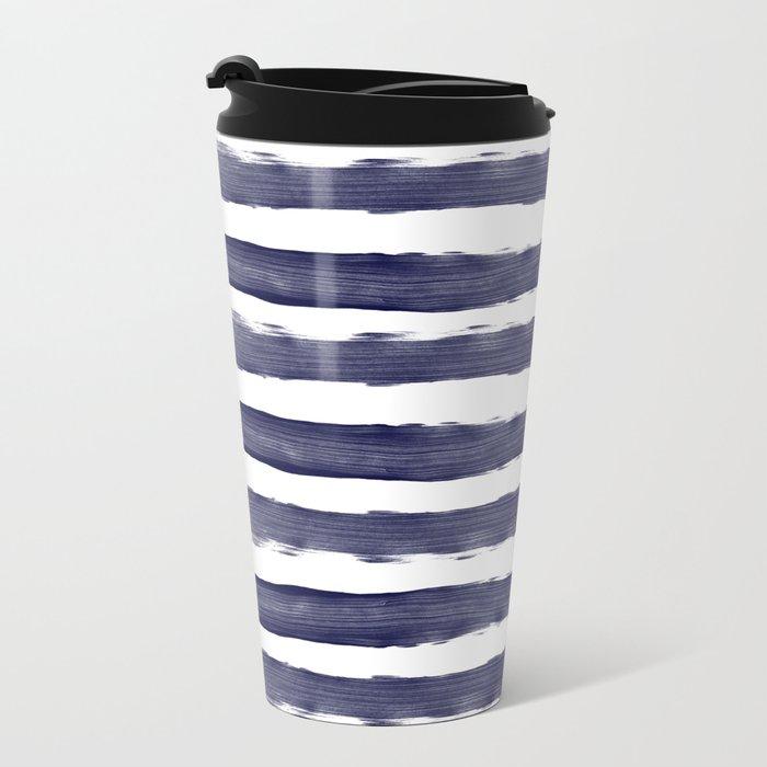 Blue- White- Stripe - Stripes - Marine - Maritime - Navy - Sea - Beach - Summer - Sailor 1 Metal Travel Mug