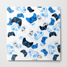 Video Game White and Blue Metal Print