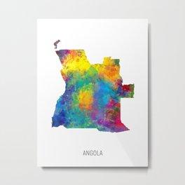 Angola Watercolor Map Metal Print