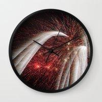 fireworks Wall Clocks featuring Fireworks by Carolina Jaramillo
