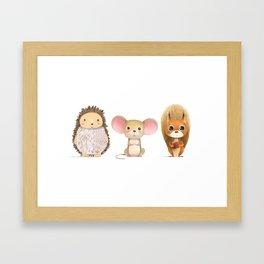 Hedghog, Mouse & Mr. Squirrel Framed Art Print