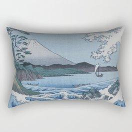 Sea Off Satta - Japanese Woodblock Print by Hiroshige Rectangular Pillow