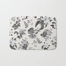 Vintage flowers on cream blackground Bath Mat