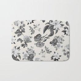 Vintage flowers on cream blackground Bath Mat