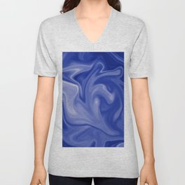 Marble Blues White Unisex V-Neck