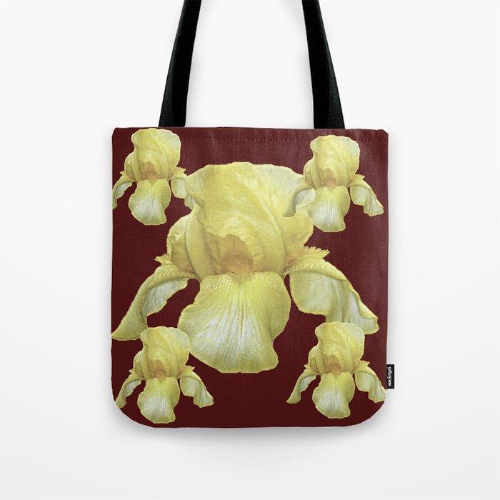 PALE YELLOW IRIS ON BURGUNDY COLOR Tote Bag