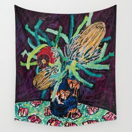 Banksia Bouquet with Tigers Dark Floral Wall Tapestry